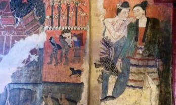 ナンの寺の内部の壁絵