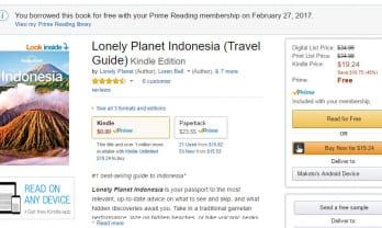 Amazon.com の方が安い Lonely Planet Indonesia is cheaper in Amazon.com than Amazon.jp